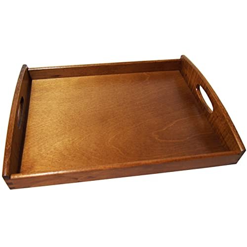 Bed Breakfast Table Wooden Serving Tray with Two Handles Beech Wood