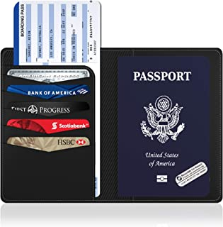 RFID Passport Holder, Anti Theft Blocking Cover for Safe Travels with Two Global Recovery Tags for Stress Free Travel By Vantamo (Classy Black)
