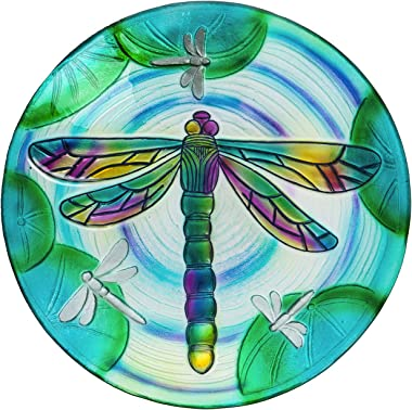 Evergreen Garden Beautiful Summer Dragonfly Pond Embossed Glass Bird Bath - 18 x 18 x 2 Inches Fade and Weather Resistant Out
