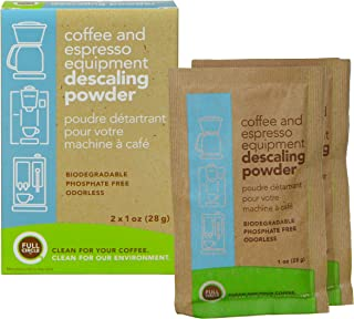 Urnex 19-FCEDP-2PK Full Circle Espresso Machine 2 Single Use Packets - Descaling Powder Safe On Keurig Delonghi Nespresso Ninja Hamilton Beach Mr Coffee Braun and More and More, 2 Ounce