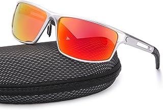 4338f00c5 TJUTR Mens Sports Polarised Sunglasses Mirrored Lens Al-Mg Metal Frame 100%  UVA UVB