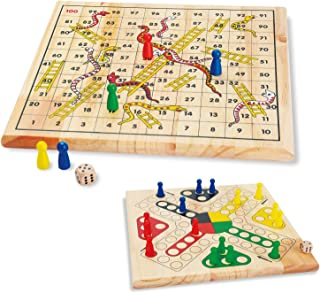 ZONXIE Wooden Classic Snakes and Ladders Board Game Traditional Children Fun Game for Kids Toddlers