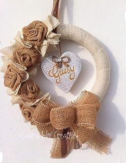 Ghirlanda shabby chic personalizzata con nome - Idea regalo Natale - Festa della mamma - Compleanno - Anniversario