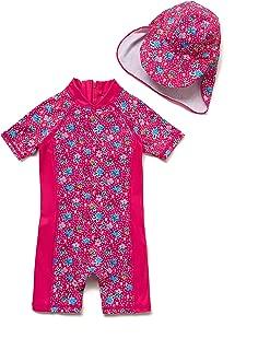 (TM) Kids UPF 50+ Sun Protection S/S One Piece Zip Sun Suit With Sun Hat (3-6 months, Colorful fish)