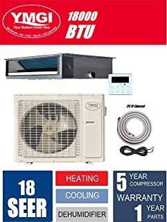 YMGI 18000 BTU 1.5 Ton or Duct or DUCTLESS Mini Split AIR Conditioner Heat Pump 25 Ft Lineset Family Home, Business. Office, Meeting Room, Shops