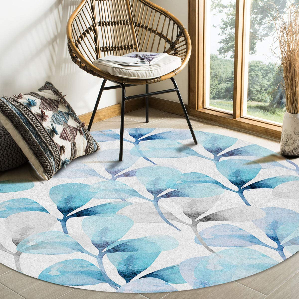 Modern Round Area Rug 6 Bedroom Non-Shedding Feet for Recommendation Super beauty product restock quality top Low-Profi