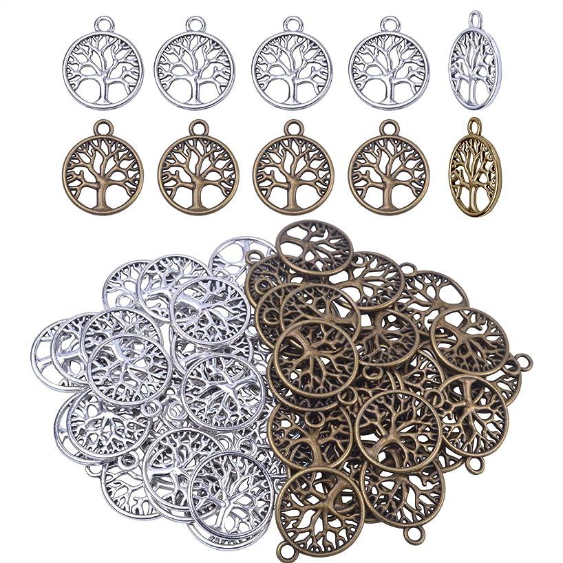 BronaGrand 50pcs Life Tree Necklace Pendant Bracelet Charms DIY Jewelry Findings