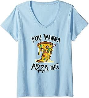 Womens Pizza Zombie You wanna pizza me Pun Halloween food Costume V-Neck T-Shirt