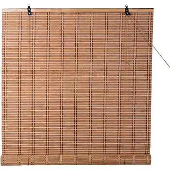 """TJ Global Bamboo Roll Up Window Blind Sun Shade, Light Filtering Roller Shades (48"""" x 84"""")"""