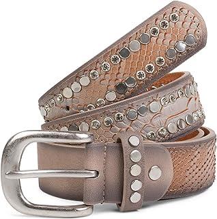 styleBREAKER cinturón con remaches planos y estrás, óptica de piel de serpiente, costuras ornamentales, estilo vintage, re...