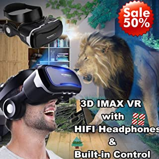3D VR Glasses/Headset, Tsanglight 3D Virtual Reality Headset Cellphone 3D Movie/Game Viewer [Newest] for iPhone 11 Pro XS XR X 8 7 6S 6 Plus Samsung Galaxy S10 S9 S8 S7 S6 Edge + etc Cellphone, Black
