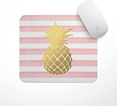 Pineapple Mousepad | Christmas Gift | Light Pink Stripe Gold Pineapple - Carnation Gold Pineapple Mouse Pad, Glitz Mouse Pad Pink and White Stripes Watercolor Mouse Pad Personalized Mouse Pad