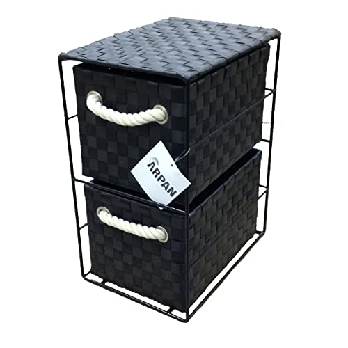 ARPAN Black 2-Drawer Storage Unit Ideal for Home/Office/Bedrooms, 2-Drawer-18x25x33cm