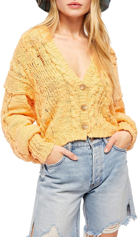Free People Women's Sandstorm Cardigan Sweater, Nectarine Combo, Large
