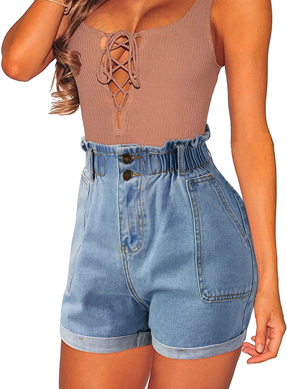 OUGES Women's Casual Ripped Denim Shorts Stretchy Frayed Raw Hem Shorts Jeans