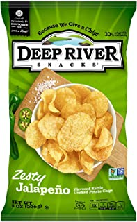 Deep River Snacks Zesty Jalapeno Kettle Cooked Potato Chips, Non GMO, 8 Ounce (Pack of 12)