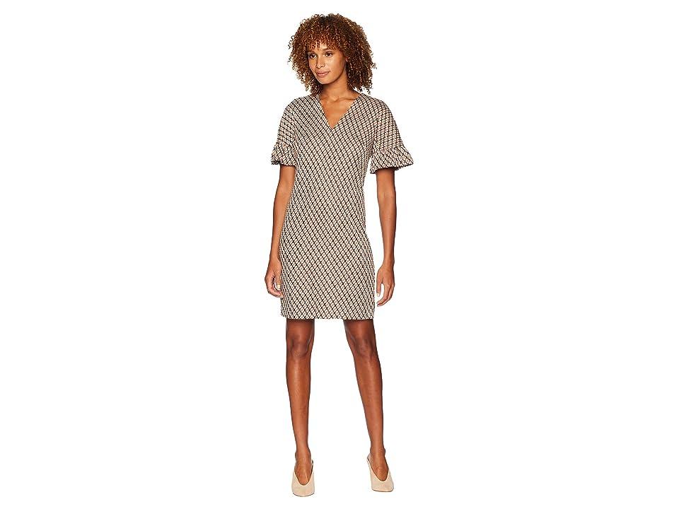 London Times Arc Shoulder Shift Dress (Black/Orange) Women