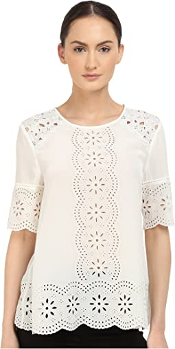 Embroidered Daisy Swing Top