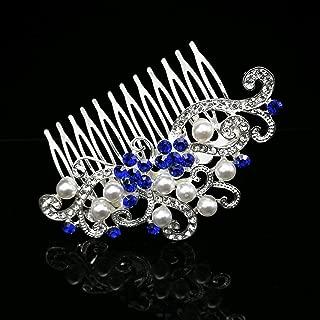 Blue Flower Wedding Hair Comb Crystal Rhinestone Simulated Pearl Bridal Headpiece Hair Accessories for Women, Silver