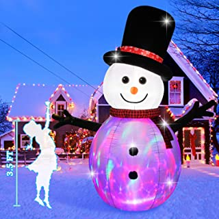 Fanshunlite Christmas Inflatable 8 FT Color Changing Christmas Snowman,Outdoor LED Lighted Blow-Up Yard Party Decoration for Xmas Airblown Inflatable Outdoor Indoor Home Garden Family Prop Yard