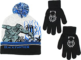 Boys Black Panther Hat and Glove Set