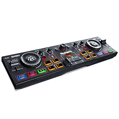 Numark DJ2GO2 | Ultra Portable Two Channel DJ Controller for Serato DJ Intro Featuring A Built In Audio Interface With Headphone Cueing, Pad Performance Controls, Crossfader and Jogwheel