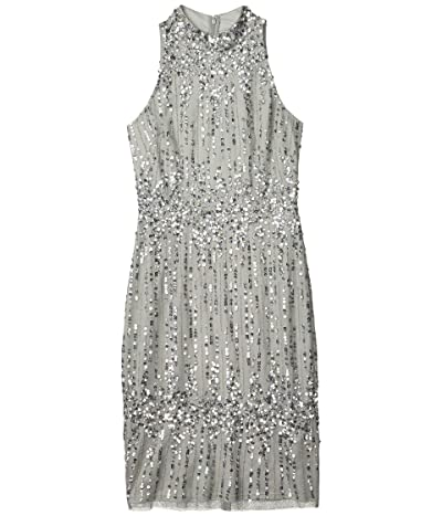 Adrianna Papell Beaded Pearl Cocktail Dress (Blue Mist) Women