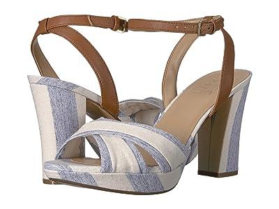 Naturalizer Avril (Blue/Tan Wide Stripe Linen) High Heels