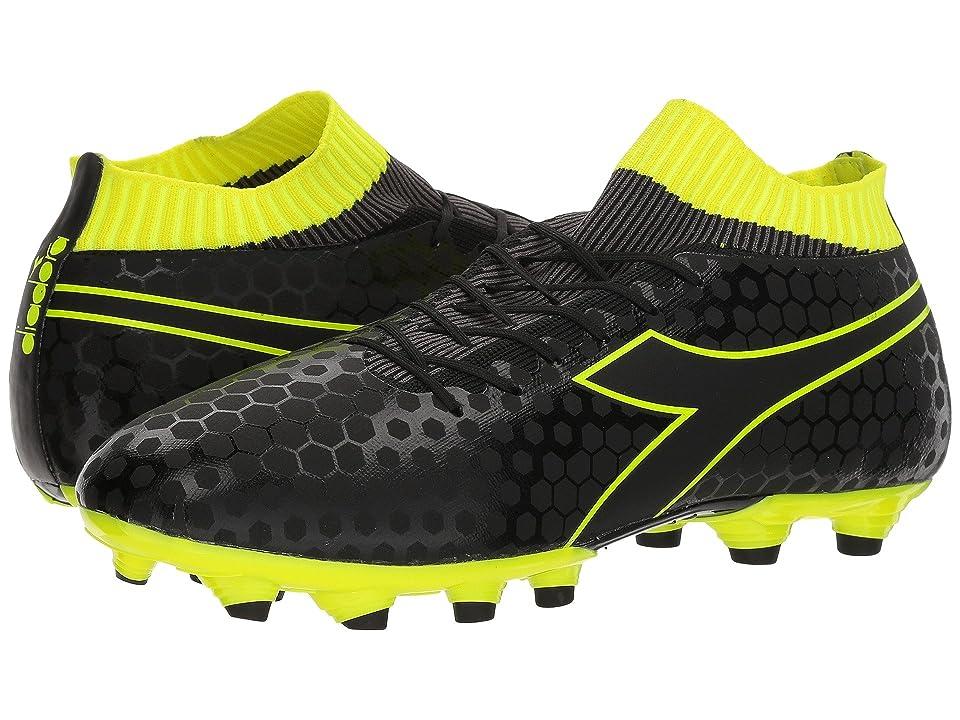 Diadora Primo MD LPU (Black/Fluo Yellow) Men's Soccer Shoes