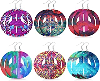 6 Pairs 70s Hippie Earrings Peace Sign Earrings Print Dangle Earrings for Women