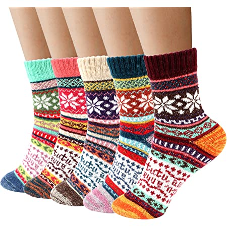 Thermal Winter Womens Socks - Airabc 5 Pairs Wool Warm Knitting Ladies Socks Vintage Style Soft Cotton Thick Woman Bed Sock Multicoloured for Home Office School Hiking, Ideal Christmas Gifts for Man