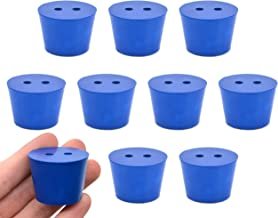 Neoprene Stopper ASTM, 2 Holes - Blue, Size #6.5-27mm Bottom, 34mm Top, 25mm Length - Pack of 10 - Eisco Labs