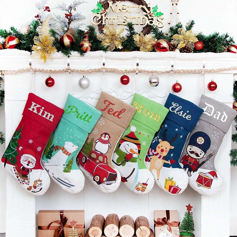 New Personalised 20 inch Kansas City Mall Christmas B Award-winning store Embroidered Stockings Linen
