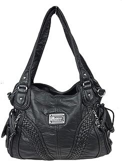 kennydoo Große Damen-Handtasche im Hobo-stil I geräumig mehrere Fächer weiches Leder Imitat I Schultertasche modern sportl...
