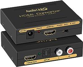 4K HDMI Audio Extractor Splitter, avedio links 1080P HDMI to HDMI Audio Converter + Optical Toslink SPDIF + RCA L/R Stereo...