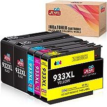 JIMIGO 932 933 Cartuchos de Tinta para HP 932XL 933XL Tinta Compatible con HP Officejet 6600 6700 7110 7612 7610 6100 (2 Negro, 1 Cian, 1 Magenta, 1 Amarillo)