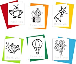 Thank You Cards - 6 Thank You Notes for Kids to Color, Trace Letters and Practice Writing - Eco-friendly Stationery for Children - 100% Recycled Note Cards with Envelopes – Blank Inside