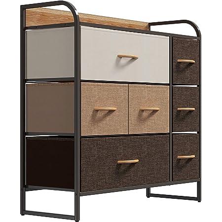 YBYA ファブリックチェスト幅80CM 大容量 スチールフレーム 木天板 布製チェスト 変形にくい 収納ボッ クス 小物 衣類収納 おもちゃ箱 簡単組立 変形にくい 安定性抜群 シンプル リビング/浴室/玄関/子ども部屋用 (3段7箱)