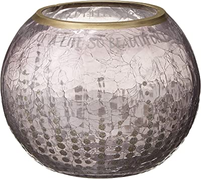 Pavilion - Gold Sparkly Polka Dot Crackled Gray Glass Round 5 Inch Tealight Candle Holder - In Memory Of A Life So Beautifully Lived