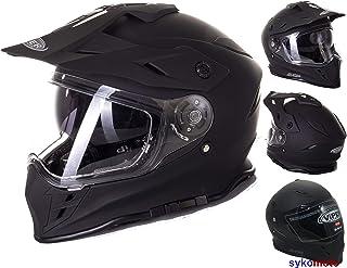 ViPER Rider MOTOCROSS HELM FLAME RX-V288 ERWACHSENE OFF ROAD DOPPELVISIER MOTORRAD ENDURO ECE GENEHMIGT ATV QUAD RENNEN HELMET MATTSCHWARZ XL 61-62 CM