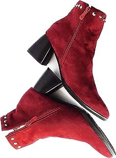 THE ARMARIO Zipper Studded Velvet Ankle Boots