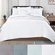 Great Bay Home 3-Piece Dot Stitch Quilt Set with Shams. White Dot King Quilt Set, All Season Bedspread Quilt Set, Athena Collection (King, White)