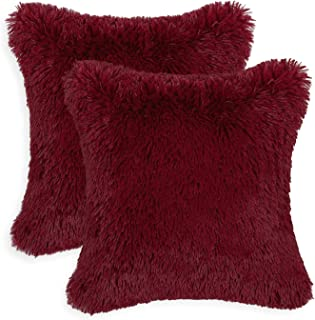 CaliTime Pack of 2 Super Soft Throw Pillow Covers Cases for Couch Sofa Bed Solid Plush Faux Fur 18 X 18 Inches Burgundy
