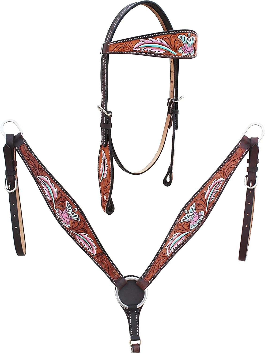 CHALLENGER Horse San Jose Price reduction Mall Western Floral Breast Browband Bridle Tooled