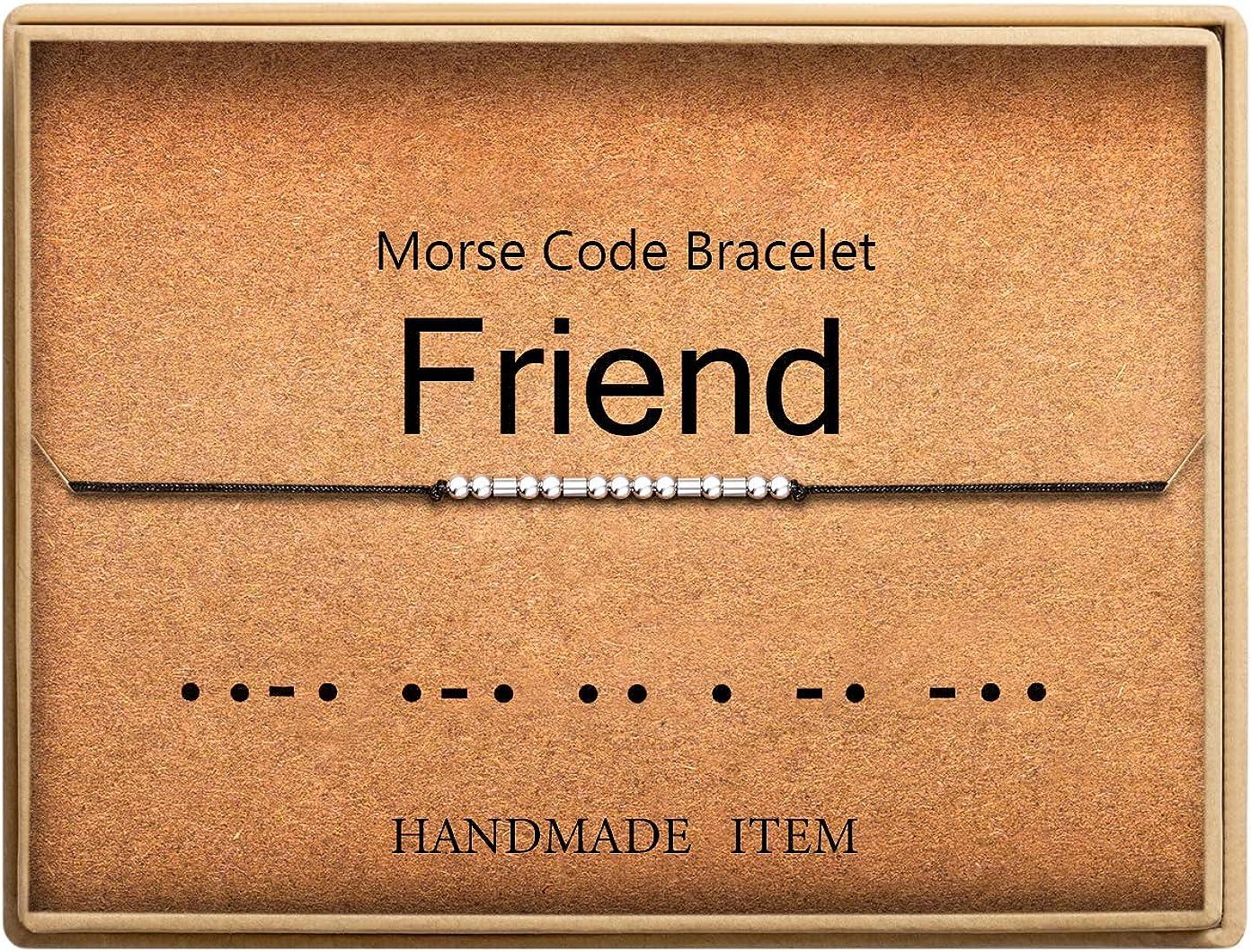 Lcherry Friend Morse Code Bracelet Handmade Beads on Silk Cord B