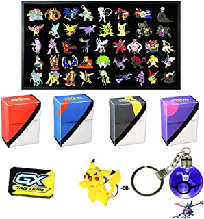 Totem World 5 Official Pokemon Collector's Pins, 1 Metal GX Marker Coin, 1 LED or Rubber Keychain Inside a Totem Inspired Poke Ball Deck Box - No Duplicates