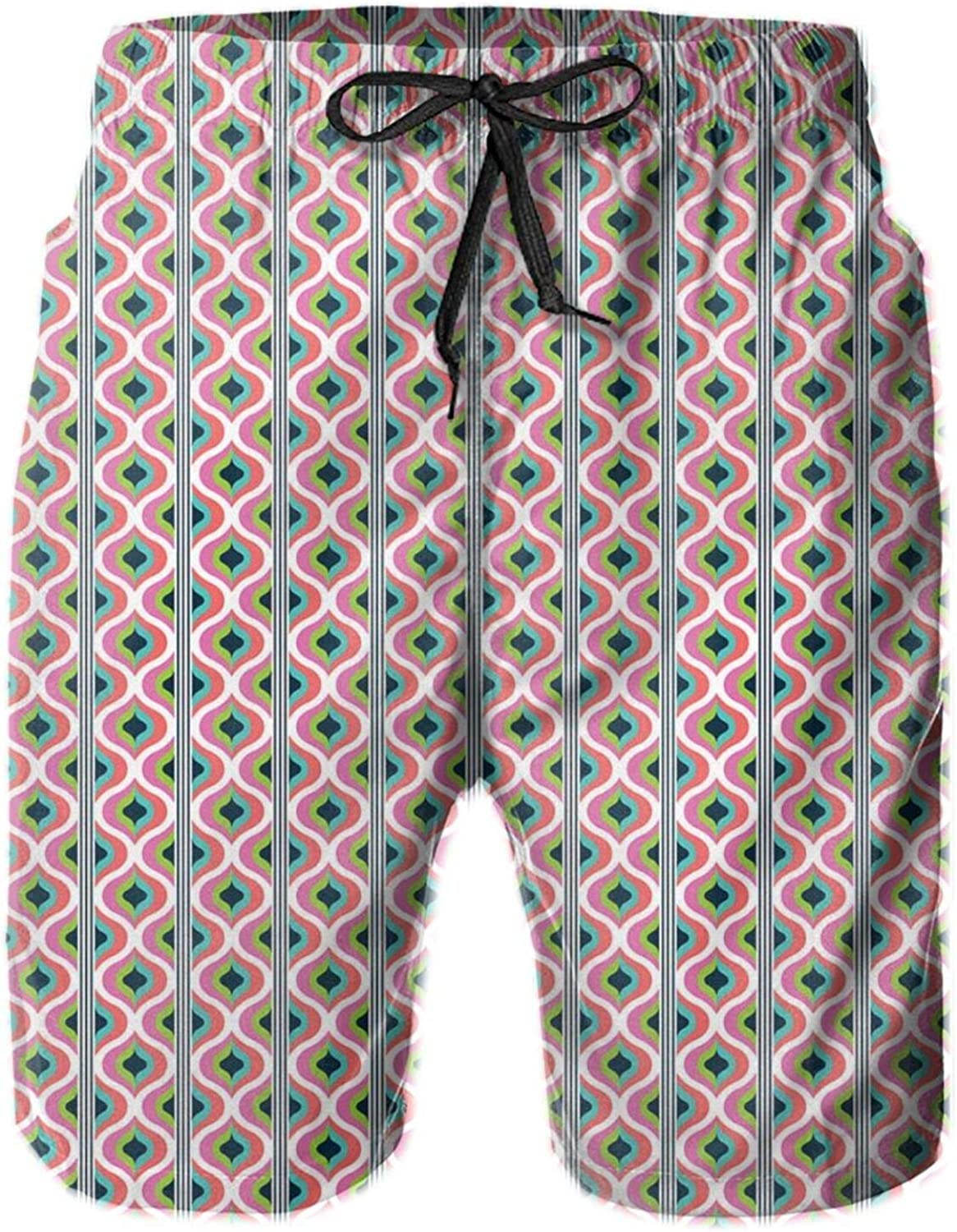 Retro 70s Inspired Look Artwork Pattern with Colorful Geometric Abstract Funky Waves Drawstring Waist Beach Shorts for Men Swim Trucks Board Shorts with Mesh Lining,L
