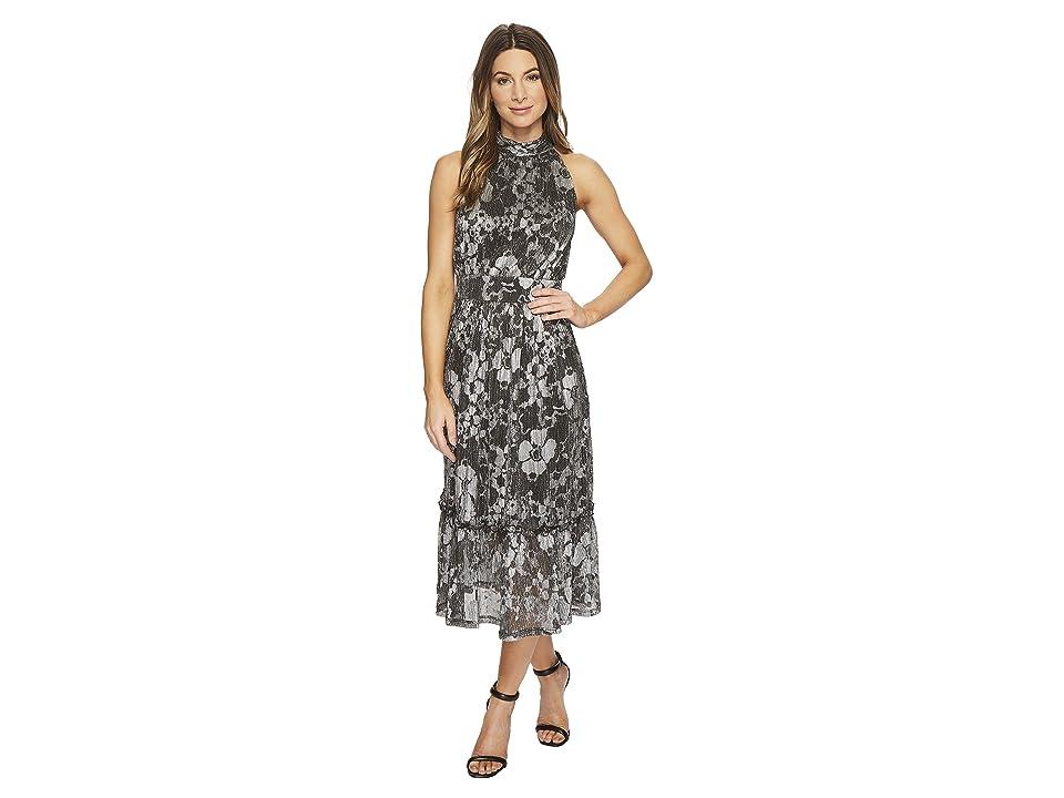 MICHAEL Michael Kors Metallic Knit Tier Midi Dress (Black/Silver Foil) Women
