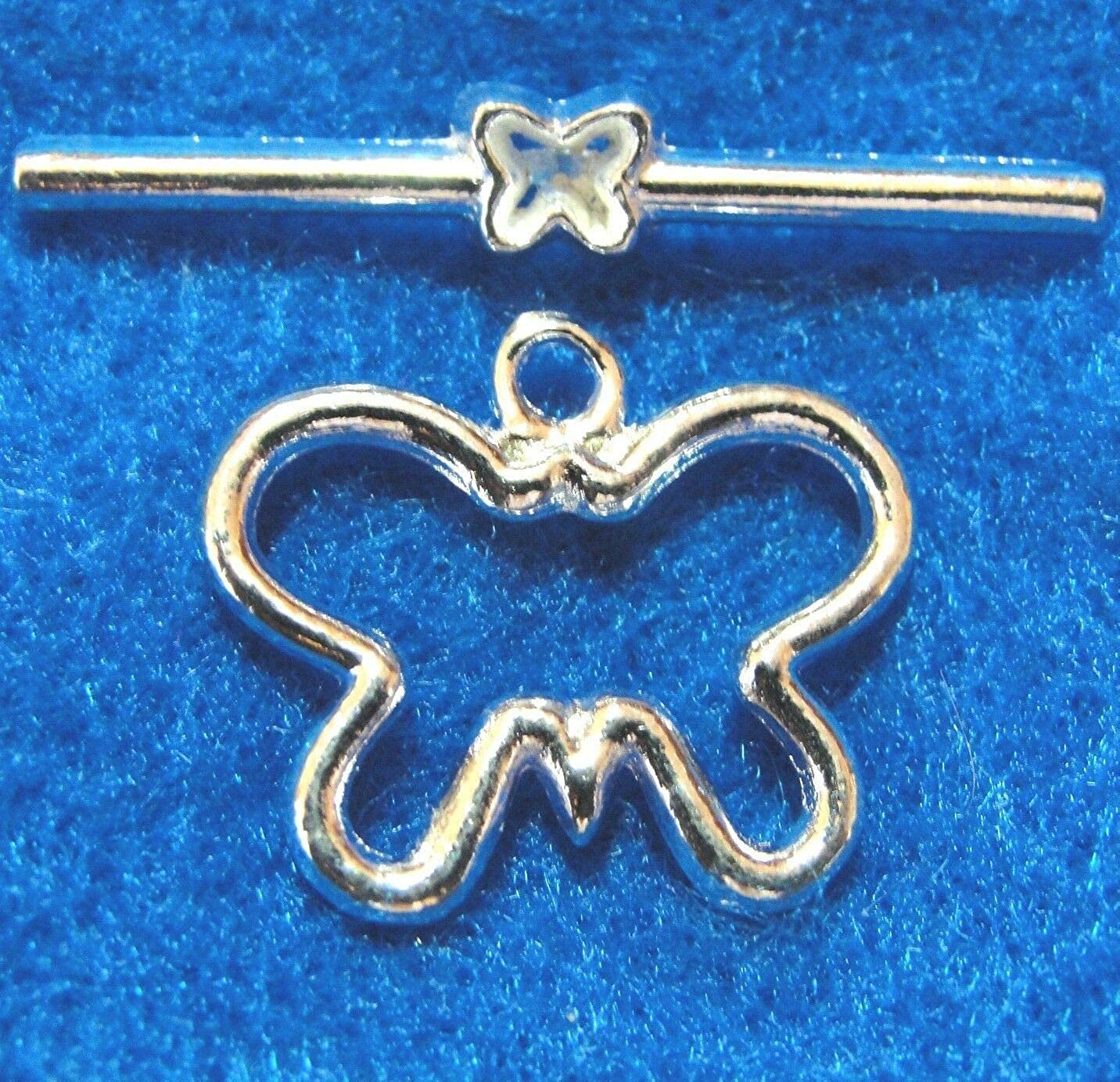 overseas 50Sets WHOLESALE Silver-Plated BUTTERFLY Dedication C Tibetan Clasps Toggle