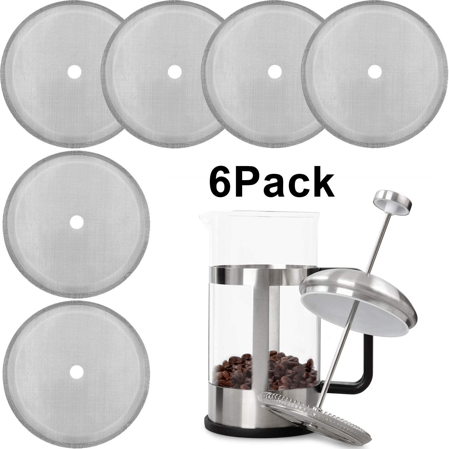 """2x Universal Reusable Stainless Steel Mesh French Coffee Press Filter Screen 4/"""""""
